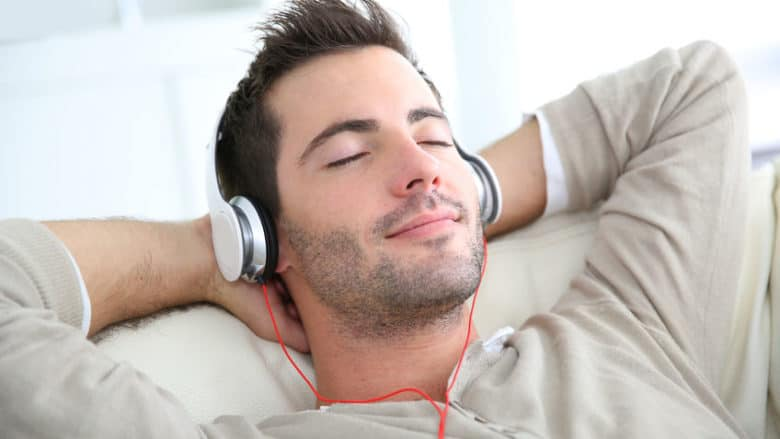 Man listening and relaxing